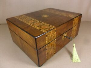 Antique Victorian Parquetry Walnut Jewellery Sewing Box C1860 1880 Code 515