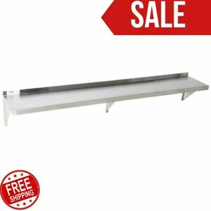 12 X 84 Stainless Steel Wall Shelf 340 Lb Capacity 18 Gauge Nsf Silver