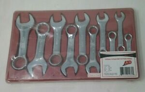 Atd Tools 1080 Sae Full Polish Stubby Combination Wrench Set 10 Pc