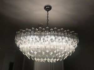 Vintage Venini Italian Murano Glass Prism Chandelier 236 6 Prisms Chrome Wide