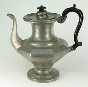 Antique Early 19th C Pewter Coffeepot Teapot American Or British