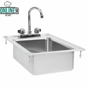 10 X 14 X 5 Stainless Steel Drop In Sink Commercial Hand Wash Bar W Faucet