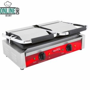 P85s Double Smooth Top Bottom Commercial Panini Sandwich Grill Press Electric