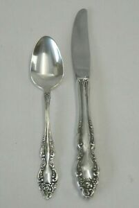 Vintage Oneida Silverplate Baroque Rose Youth Knife Spoon 2 Piece Set