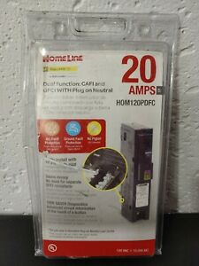 new Square D Homeline 20 Amp Single pole Dual Function Breaker Hom120pdfc