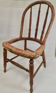 1800s Primitive Childs Chair Original Red Paint Patina Mortised No Seat Gu23
