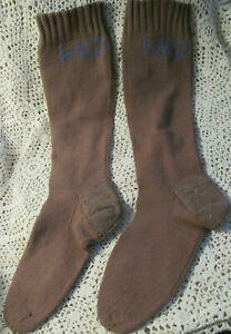 Primitive 1800s Antique Knit Wool Stockings Long Socks W Initials
