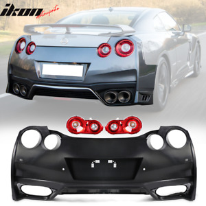 Fits 09 18 Nissan Gtr R35 Oe Factory Style Rear Bumper Cover Tail Lights 2pc