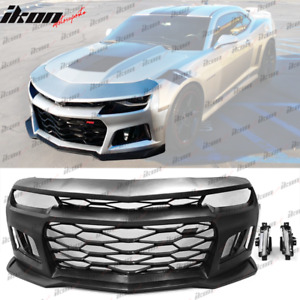 Fits 14 15 Camaro 6th Gen Zl1 Style Front Bumper Cover Drl Turn Signal Fog Light