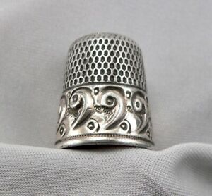Antique Silver Sewing Thimble Gold Wash On Scroll Design 6 6g Simmons Size 11
