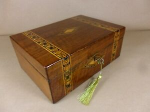 Antique Victorian Parquetry Walnut Jewellery Sewing Box C1860 1880 Code 516