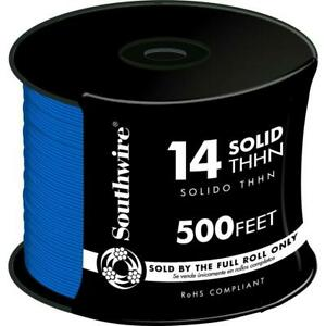 Indoor outdoor Thhn Wire 500 Ft 14 Blue Solid Cu Jacketed With Pre cut Length