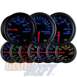 Glowshift 52mm Black 7 Color Boost Oil Pressure Air Fuel Ratio 3 Gauge Set