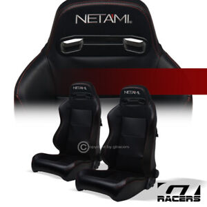 Universal 2pc T R Black Pvc Leather Red Stitch Reclinable Racing Bucket Seats V2