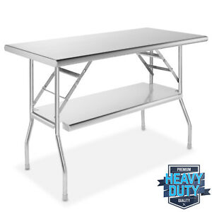 Stainless Steel Folding Commercial Prep Table With Undershelf 24 X 48 In