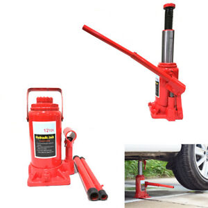 12 Ton Hydraulic Bottle Jack Motor Off Road Flat Tires Emergency Lift Stand Tool