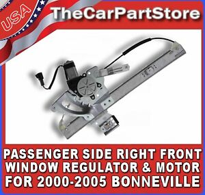 Power Window Lift Regulator Motor Passenger Side Right Front For Bonneville