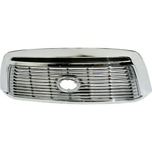 Grille For 2010 2013 Toyota Tundra Chrome Shell W Silver Insert Plastic