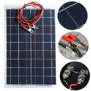 30w 12v Semi Flexible Solar Panel Battery Charger W Alligator Clip For Rv Boat