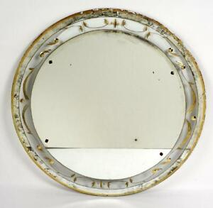 Large Round Reverse Painted Wall Mirror