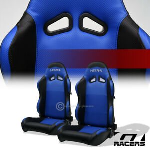 Universal 2pc Sp Black Blue Pvc Leather Stitch Reclinable Racing Bucket Seats
