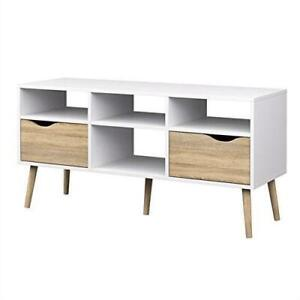 Modern White Natural Oak Tv Stand With Mid Century Style Wood Legs