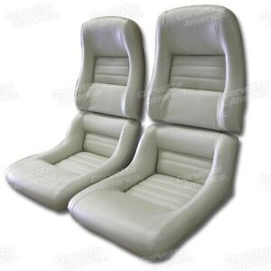 79 81 Corvette C3 Mounted Seat Upholstery Covers Oyster Vinyl With Foam Set New