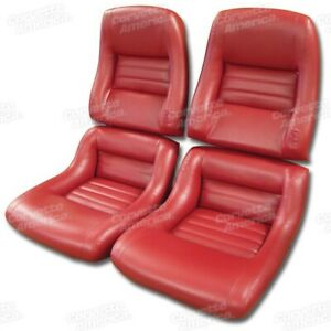 79 81 Corvette C3 Mounted Seat Upholstery Covers Red Vinyl With Foam Set New