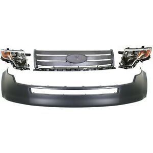 Bumper Cover Kit For 2007 2010 Ford Edge Front 4pc