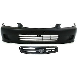 Bumper Cover Kit For 99 2000 Honda Civic Front 2pc With Grille
