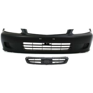 Bumper Cover Kit For 99 2000 Honda Civic Front 2pc With License Plate Provision