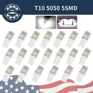 20x Super White T10 5050 5 led Interior Light Bulb W5w 158 168 175 192 194 2825
