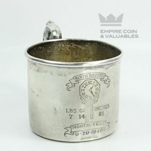 1942 Webster Co Birth Record Sterling Silver Baby Cup 2 25