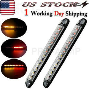 2x Round 4 Red Amber Led Truck Trailer Tail Lights Rear Stop Brake Turn Signal
