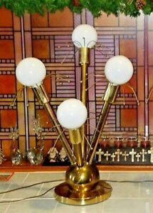 Rare Atomic Mid Century 4 Globe Bar Light Sputnik Metropolis Table Bar Lamp