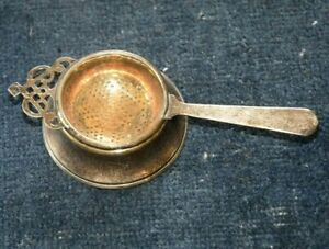 Vintage English Silverplate Tea Strainer W Holder Epns