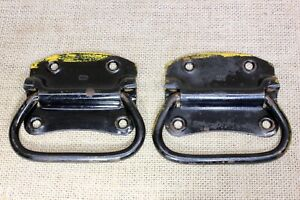 2 Old Tool Box Chest Handles Drawer Pulls Vintage Black Yellow Paint 4 1 8
