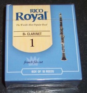 Rico Royal Bb Clarinet Reeds  Strength 1 10-pack Brand New Sealed Pack Free Ship