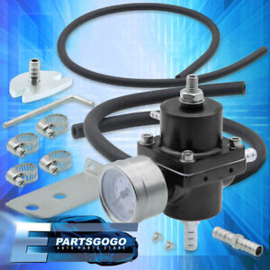 Black Adjustable Fuel Pressure Regulator Fpr With Psi Gauge Protege Miata Mx 5