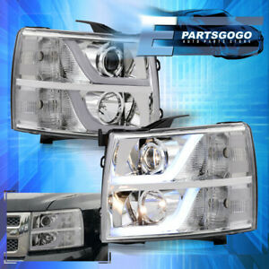 For 07 13 Chevy Silverado Led Drl Projector Head Lights Lamps Lh Rh Chrome Clear
