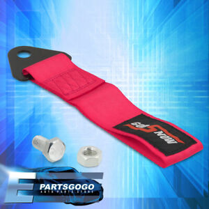 Universal Godsnow Racing Recorvery Rope Tow Hook Strap Pink Heavy Duty Towing