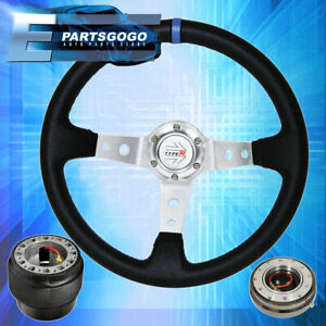Deep Dish Black Steering Wheel Silver Center Quick Release Hub For 92 95 Civic