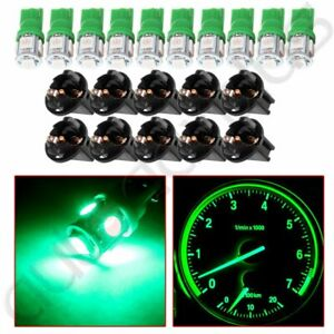 10x Ultra Green 168 194 T10 5smd Led Instrument Dash Gauge Light Bulb W Sockets