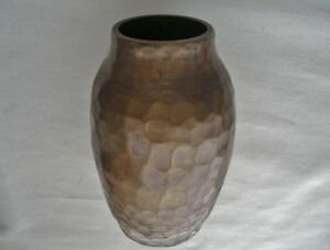 Small Powerful Arts And Crafts Bronze Vase Hand Hammered Heavy Signed Has Wear