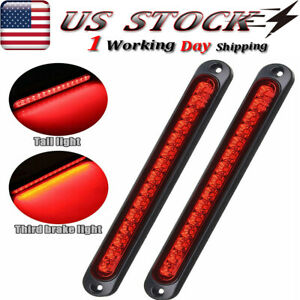 2x 10 15 Led Red Sealed Truck Boat Trailer Stop Tail Rear Turn Brake Light Bar