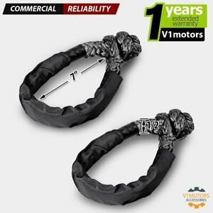 1 2 Black Soft Shackle Recovery Synthetic Rope 38000 Lb Breaking Strength Pair