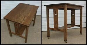 Old Arts Crafts Mission Oak Library Diamond Pierce Slat Side Table Desk Office
