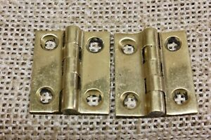 2 Tiny Cabinet Door Hinges Butts Vintage Polished Brass 1 X 7 8 Jewelry Box