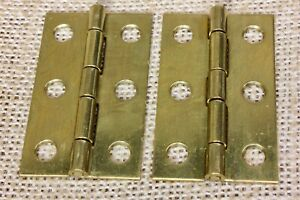 2 Cabinet Door Hinges 2 X 1 1 4 Shutter Jewelry Box Vintage Satin Brass Nos