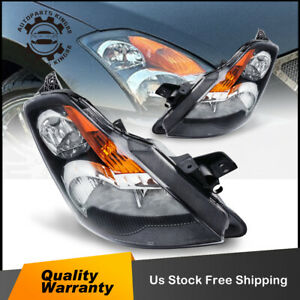 For 2007 2009 Nissan Altima Black Headlight Headlamp Assembly Replacement Pair
